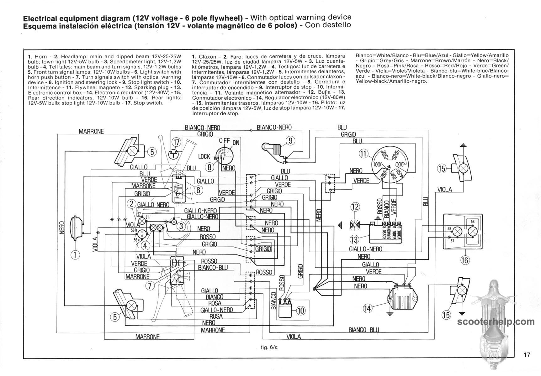 Schema elettrico vespa 50 lx 2t