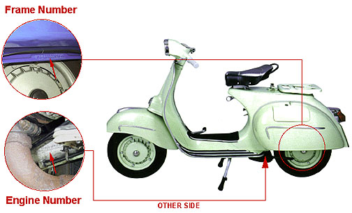 Vespa Large Frame - 60's - 70's (with fixed left hand panel glovebox)