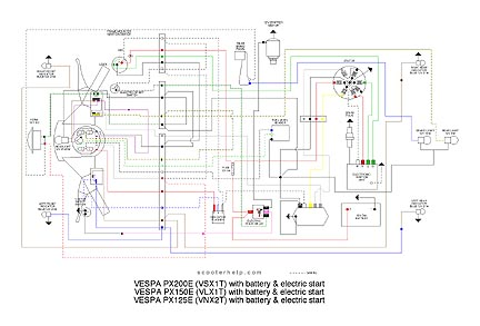 VSX1T.px200e.batt scooter help px200e (vsxit) vespa p200 wiring diagram at bakdesigns.co