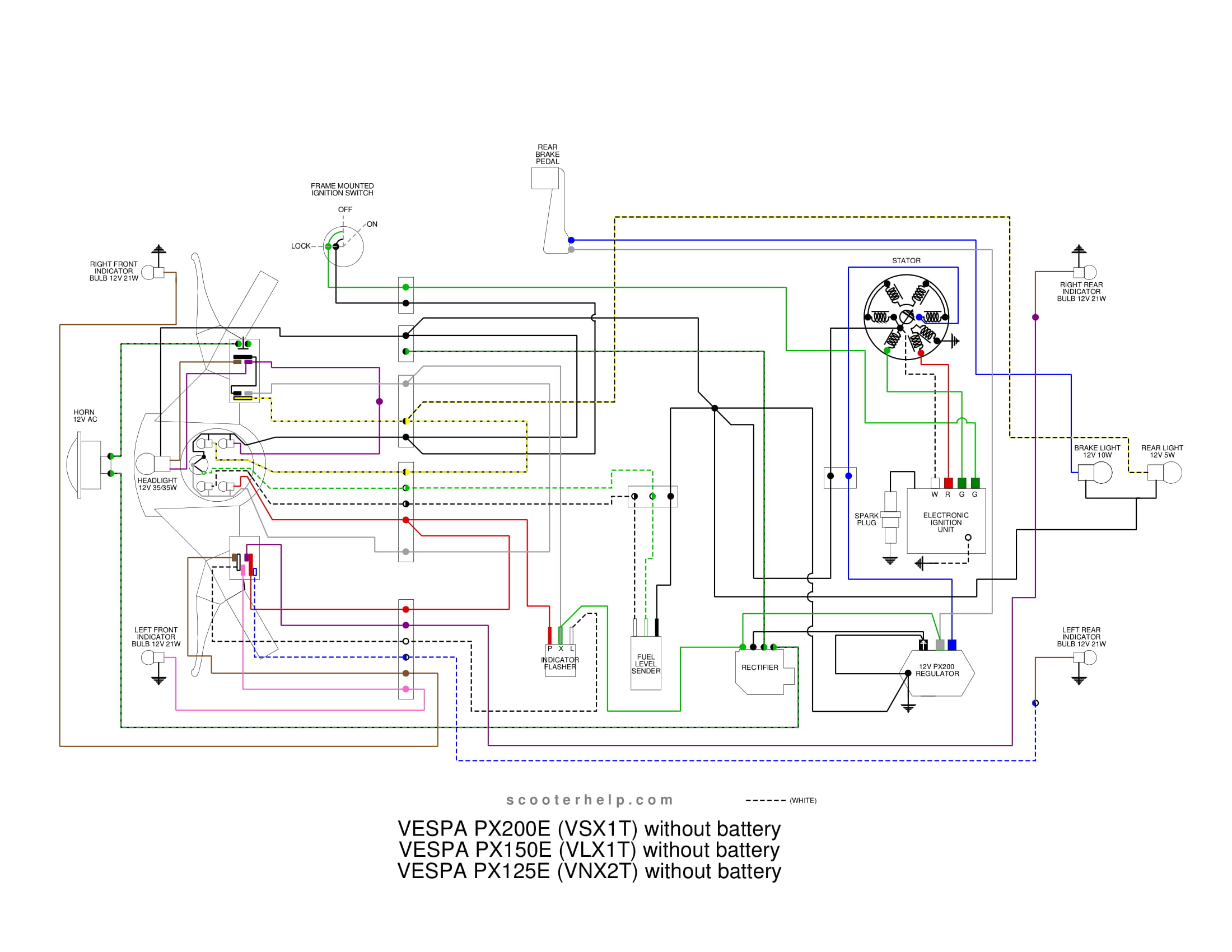 VSX1T.px200e.nobatt scooter help px200e (vsxit) vespa px 150 wiring diagram at bakdesigns.co
