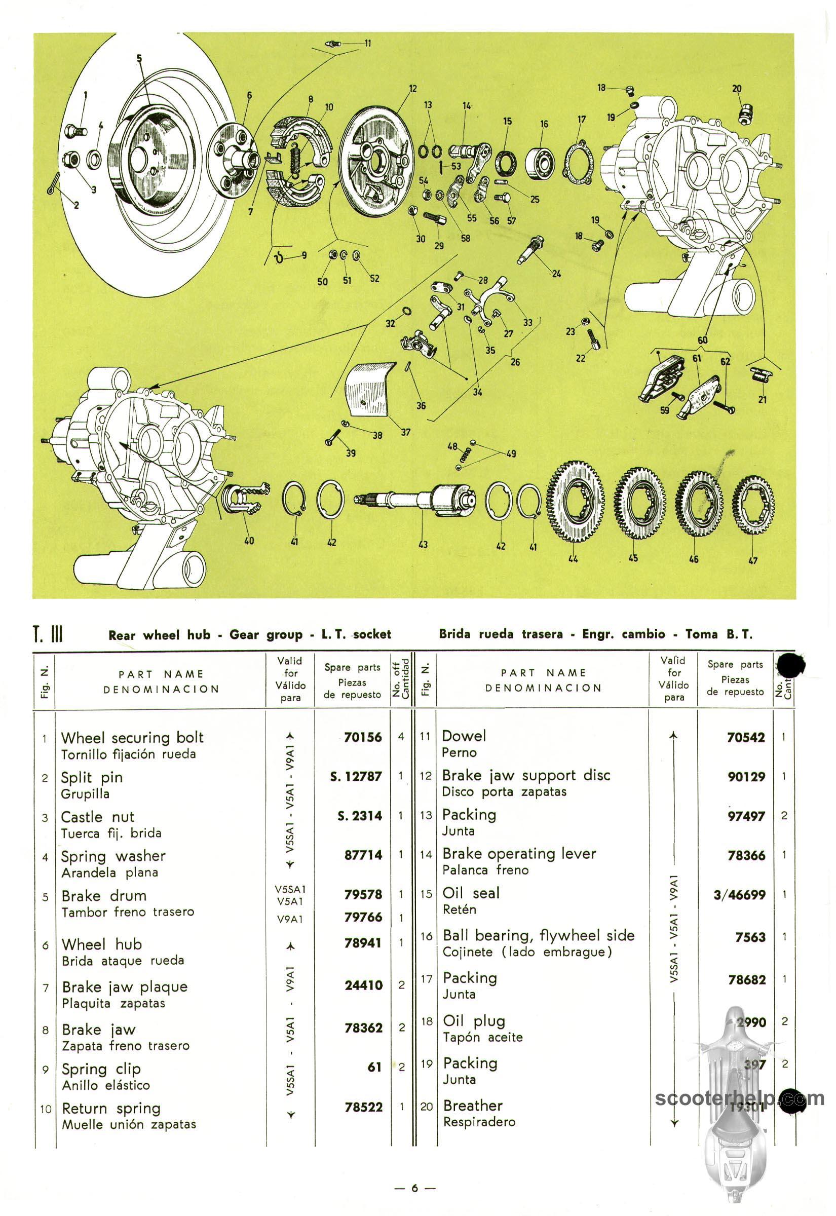 Vespa 50 & 90 Parts Book