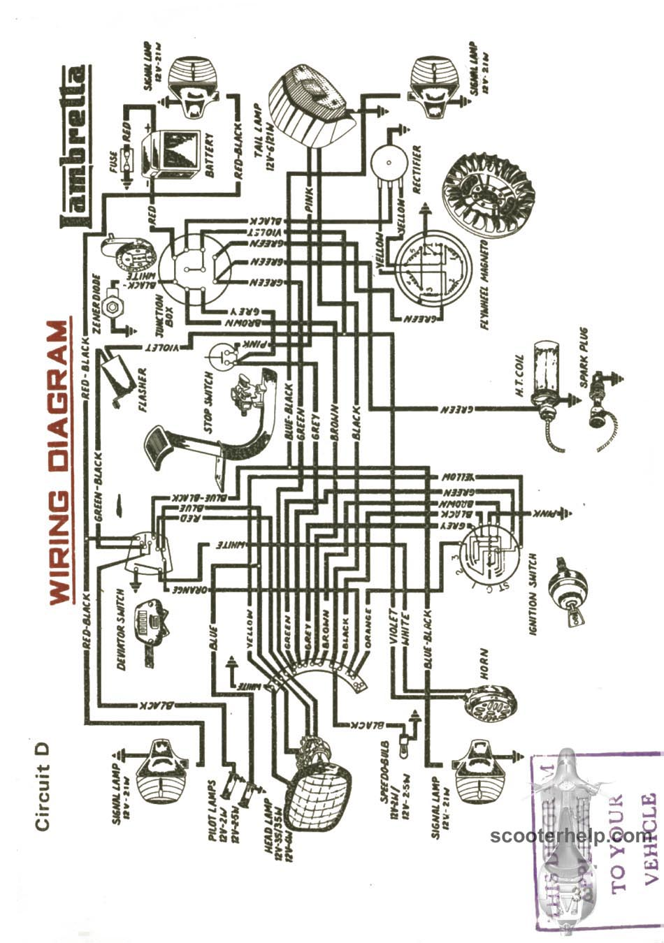 page33 sil lambretta dl 200 owner's manual lambretta 12v wiring diagram at bakdesigns.co