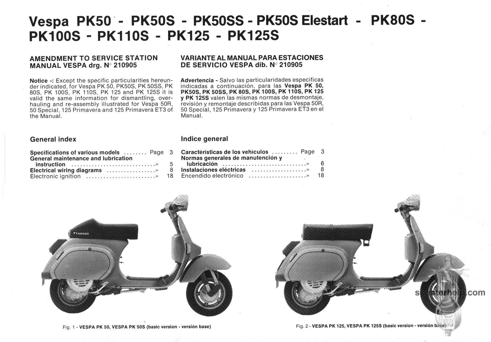 Pk Factory Repair Manual Vespa Lxv Fuse Box Location Pk50 Pk50s Pk50ss Pk80s Pl100s Pk110s Pk125 Pk125s Book