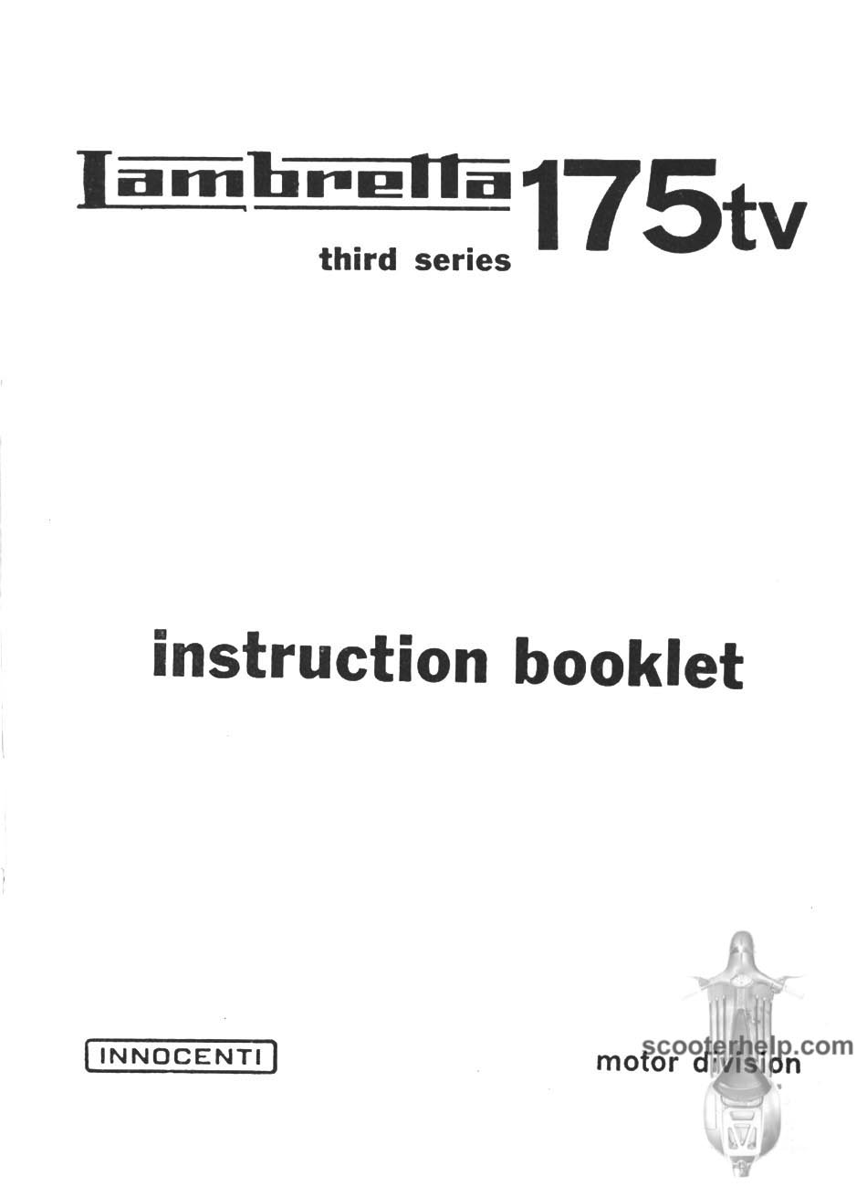 01 lambretta tv 175 iii owner's manual Coleman Tent Trailer Wiring Diagram at edmiracle.co
